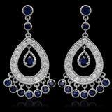 14K Gold 3.01ct Sapphire 1.42ct Diamond Earrings