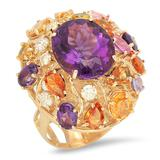 14K Gold 8.26ct Amethyst 6.46ct Sapphire 0.7cts Diamond Ring