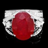 14k White Gold 12.55ct Ruby 1.20ct Diamond Ring