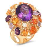 14K Gold 8.82ct Amethyst 7.39ct Sapphire 0.51cts Diamond Ring