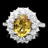 14k Gold 3.20ct Sapphire 1.60ct Diamond Ring