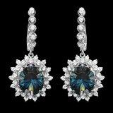 14k Gold 12.00ct Topaz 1.90ct Diamond Earrings