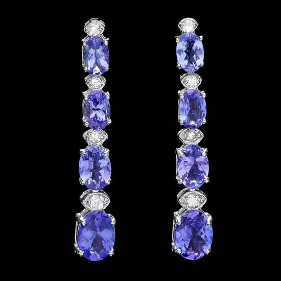 14k Gold 5ct Tanzanite 0.35ct Diamond Earrings
