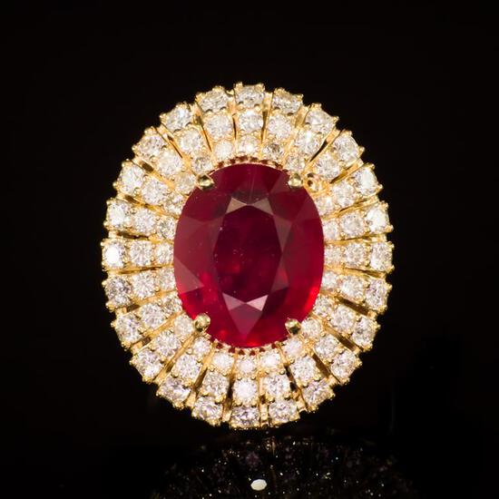14k Gold 6.84ct Ruby 1.91ct Diamond Ring
