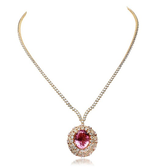 18K Yellow Gold, 14.55cts Tourmaline, 9.89cts Diamond Necklace