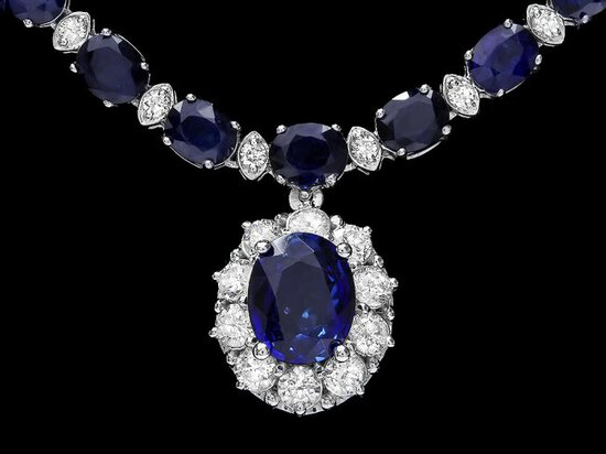 14k Gold 29ct Sapphire 2.25ct Diamond Necklace