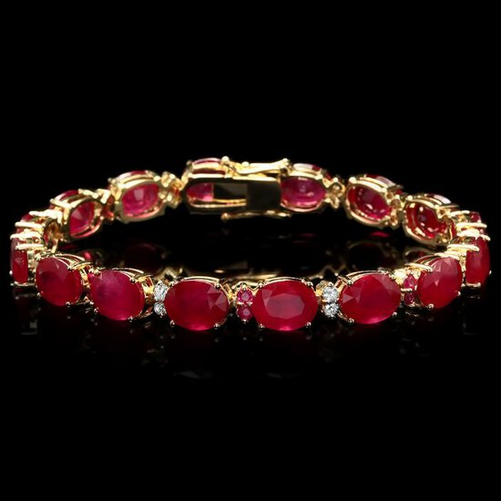 14k Gold 39.7ct Ruby 0.70ct Diamond Bracelet