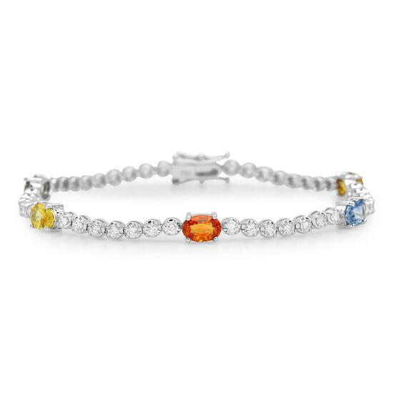 14K Gold 3.40ct Fancy Color Sapphire 1.50cts Diamond Bracelet