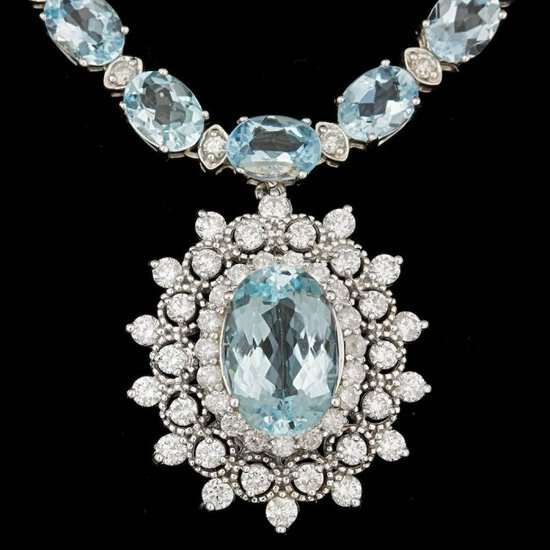 14k 33.5ct Aquamarine 3.10ct Diamond Necklace