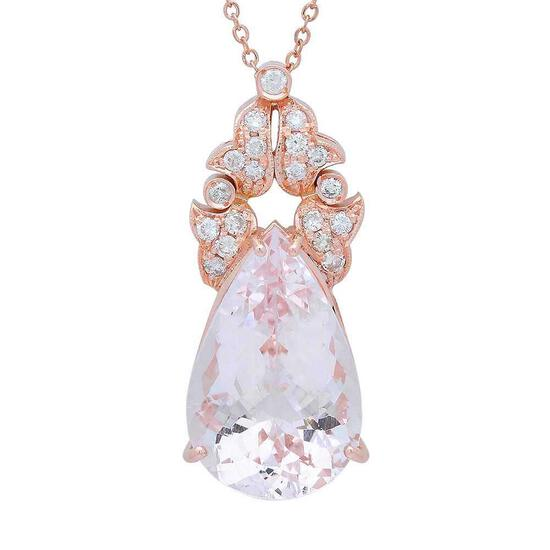 14K Gold 21.98ct Morganite 0.81ct Diamond Pendant