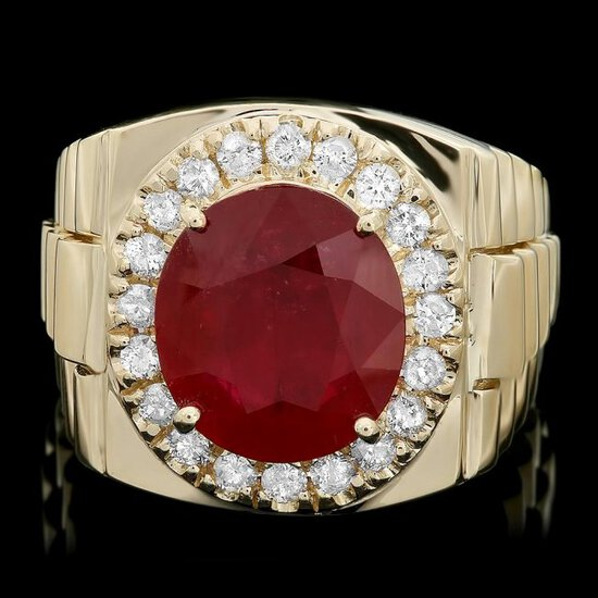 14k Gold 8.00ct Ruby 0.70ct Diamond Mens Ring