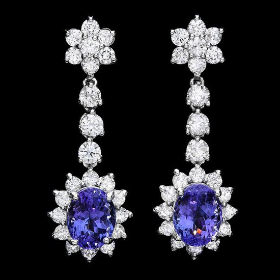 14k Gold 5ct Tanzanite 2.80ct Diamond Earrings
