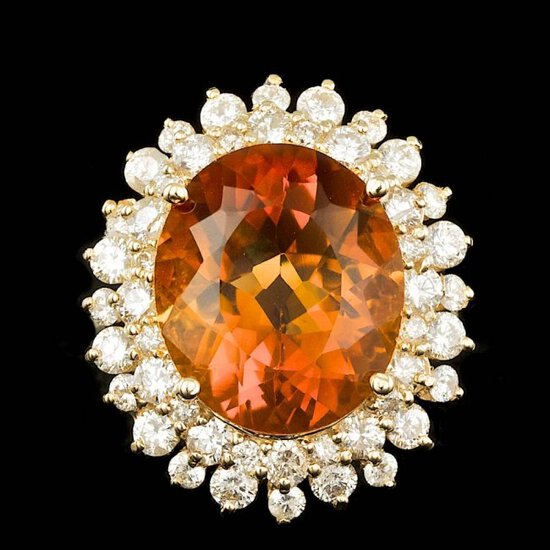 14k Gold 7.00ct Citrine 1.75ct Diamond Ring