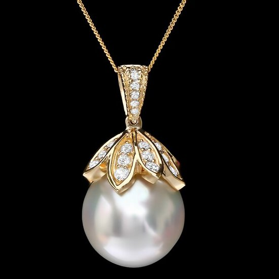 14k Gold 16 X 16mm Pearl 1.20ct Diamond Pendant