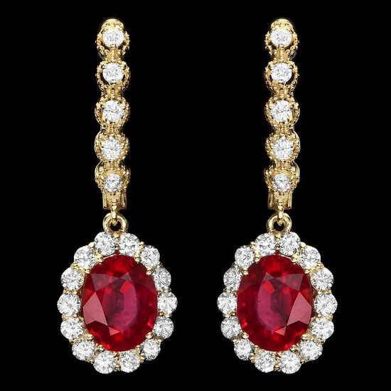 14k Gold 5.00ct Ruby 1.30ct Diamond Earrings