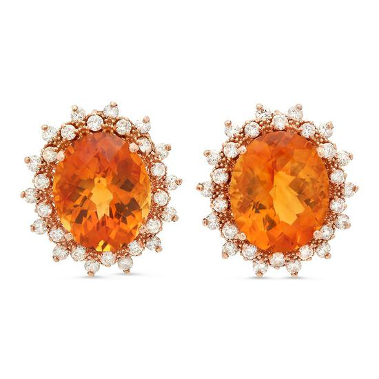 14K Gold 11.15ct Citrine 1.40cts Diamond Earrings