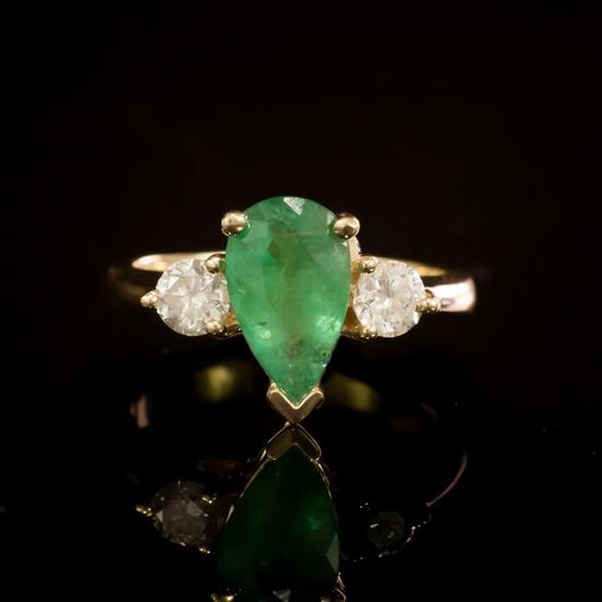 14 Gold 1.36ct Emerald 0.60ct Diamond Ring