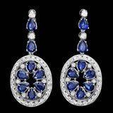 14k Gold 11.50ct Sapphire 3ct Diamond Earrings