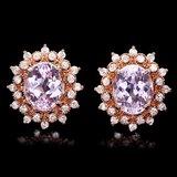 14k Rose 9.00ct Kunzite 1.30ct Diamond Earrings