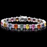 14k Gold 24ct Sapphire 1.25ct Diamond Bracelet