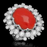 14K Gold 13.71ct Coral 2.58ct Diamond Ring