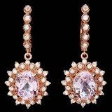 14k Rose 9.00ct Kunzite 1.60ct Diamond Earrings