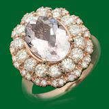 14k Gold 3.07ct Morganite 1.60ct Diamond Ring