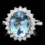 14k Gold 3.50ct Aquamarine 0.80ct Diamond Ring