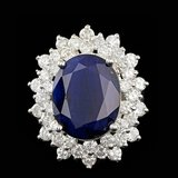 14k Gold 13.00ct Sapphire 3.00ct Diamond Ring