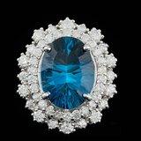 14k White Gold 7.00ct Topaz 1.50ct Diamond Ring