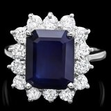14k Gold 4.70ct Sapphire 1.30ct Diamond Ring
