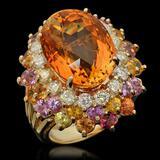 14K Gold 12.85ct Citrine, 4.32ct Fancy Color Sapphire & 1.45ct Diamond Ring