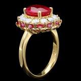 14k Yellow Gold 4.15ct Ruby 1.20ct Diamond Ring