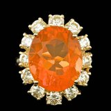 14k Yellow Gold 8.00ct Opal 2.45ct Diamond Ring