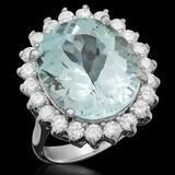 14K Gold 9.51ct Aquamarine 1.15ct Diamond Ring
