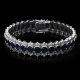 14K White Gold 22.41ct. Sapphire & Diamond Bracelet