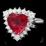 14k White Gold 2.50ct Ruby 0.60ct Diamond Ring