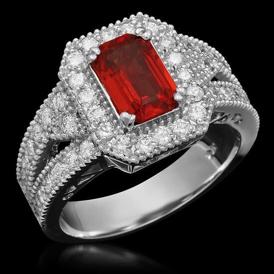 14K Gold 1.67ct Orange Sapphire 1.00ct Diamond Ring