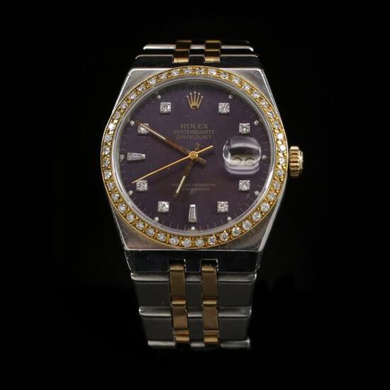 Rolex DateJust Two-Tone Quartz Model 36mm Custom Diamond Bezel Men's Wristwatch