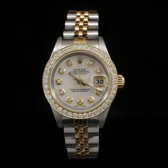 Rolex DateJust Two-Tone 26mm Custom Diamond Bezel Women's