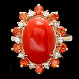 14k Yellow Gold 6.50ct Coral 0.40ct Diamond Ring