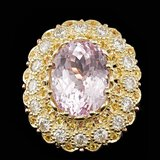 14k Gold 14.00ct Kunzite 2.05ct Diamond Ring
