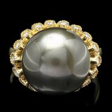 14k Gold 14 X 14mm Pearl 0.64ct Diamond Ring
