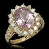 14K Gold 4.50ct Kunzite 1.21ct Diamond Ring