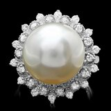 14k Gold 14 X 14mm Pearl 0.60ct Diamond Ring