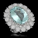 14K Gold 14.97ct Aquamarine 2.75ct Diamond Ring