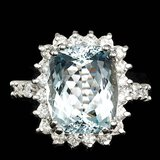 14k Gold 5.50ct Aquamarine 1.00ct Diamond Ring