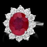 14k White Gold 4.50ct Ruby 1.75ct Diamond Ring