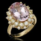 14K Gold 5.90ct Kunzite 1.76ct Diamond Ring