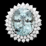 14k Gold 18.00ct Aquamarine 2.80ct Diamond Ring